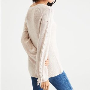 AE CREAM TAN LACE UP ARM DETAIL SOFT SWEATER